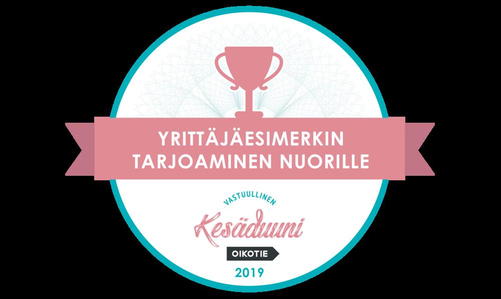 Pks4H: sain Suomen Yrittäjien kunniamaininnan yrittäjäesimerkin tarjoamisesta nuorille Vastuullinen Kesäduuni -kampanjassa.