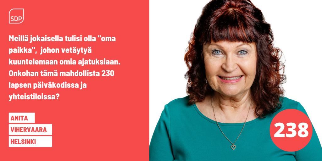 AnitaVihervaaran kuntavaalien 2021 mainos, äänestysnumero 238