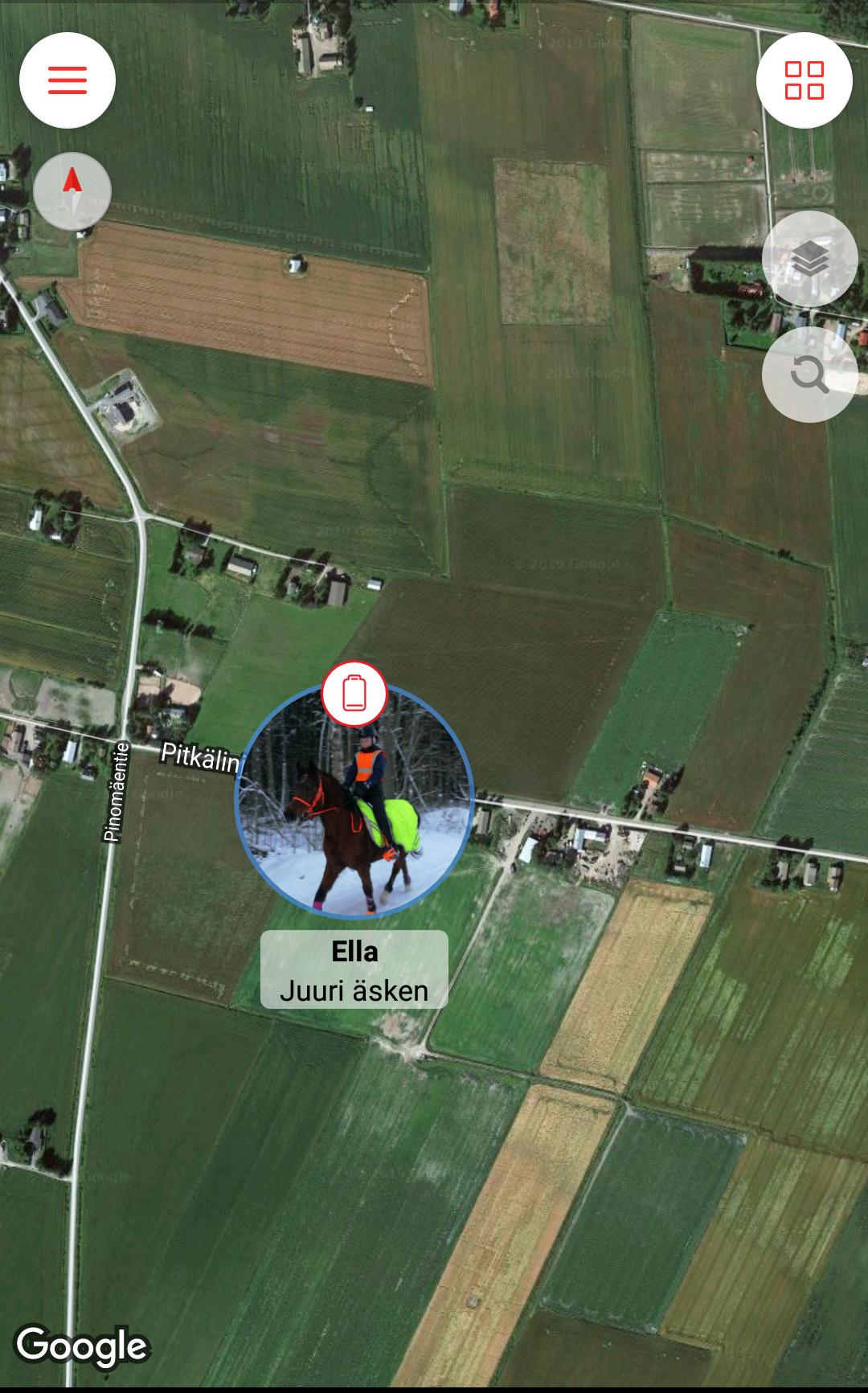 Kartasta näet ratsukon sijainnin ja akun varauksen.