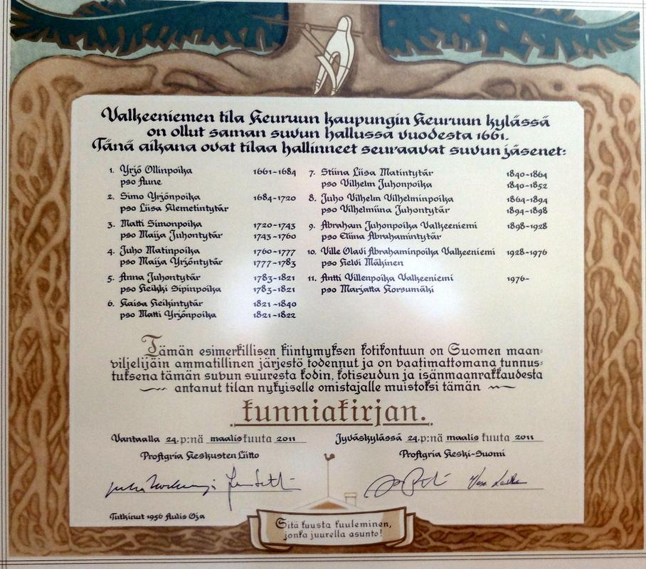Valkeenniemen tilan sukutaulu vuodesta 1661