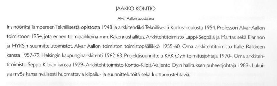 Jaakko Kontio, Kirjoittajien esittely, Alvar Aalto ja Helsinki