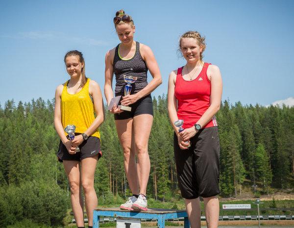Naisten sarjan voittajakolmikko.   1. Irina Nousiainen        Keuruun Kisailijat                    13.32,6   2. Tiia Niemelä            Keuruun Kisailijat          14.41,7       1.09,1   3. Riikka Strömberg                                      15.50,0       2.17,4