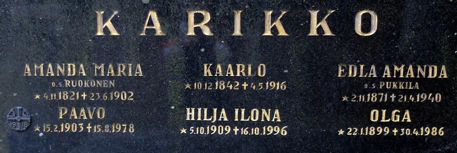 Hilja Ilona o.s. Laaksonen oli Paavon puoliso. Amanda Maria Karikko o.s. Ruokonen oli Kaarlo Karikon äiti ja Paavon mummu (puoliso Tobias Eliaksenpoika Karikko)
