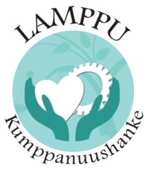 Lamppu-kumppanuushankkeen logo, jossa ylös ojennetut kädet pitelevät sydäntä ja rataspyörää.