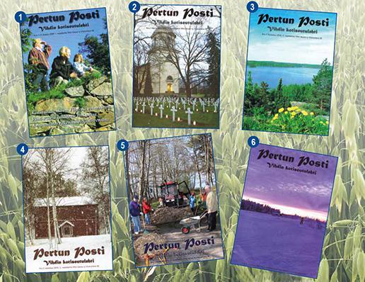 Pertun Posti -lehtien kansikuvia eri vuosilta, kuusi kappaletta, taustalla himmeänä lähikuva kaurapellosta.