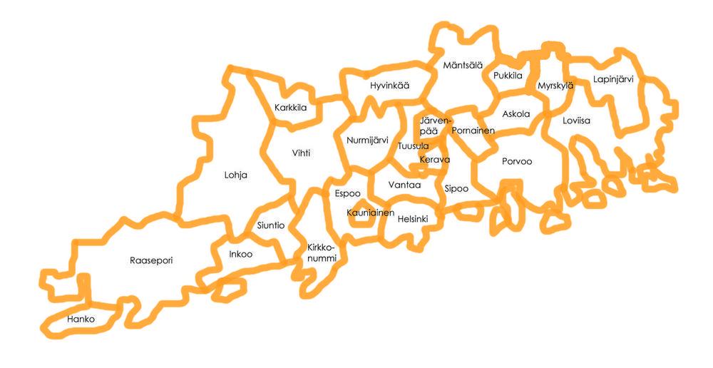 Toiminta-alueen kartta
