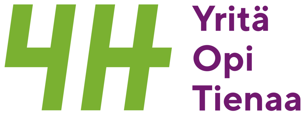 Kuvassa on 4H:n logo, ja teksti yritä opi ja tienaa.