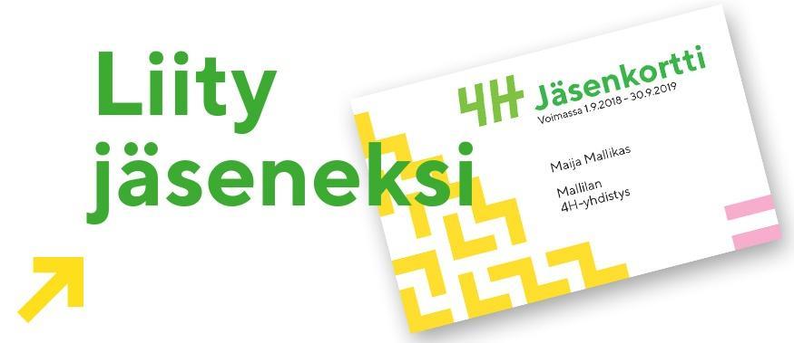 Kuvassa on jäsenkortti, ja vihreällä teksti liity jäseneksi.