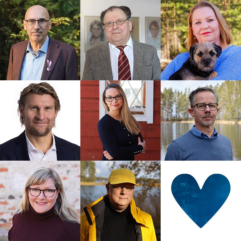 Kuvakoosteessa Kokoomuksen kahdeksan kunnanvaltuutettua ja sininen sydän