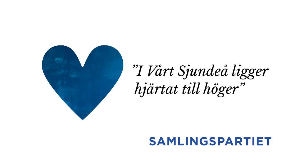 På bilden ett blått hjärta och motto från samlingspartiets valprogram som beskriver Sjundeå.