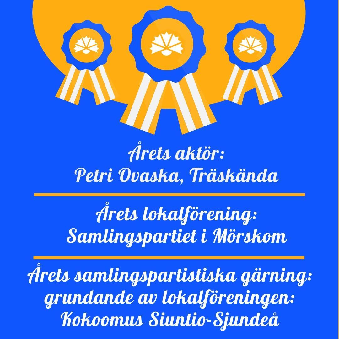 Tre belönade Nyländska samlingsparti medlemmar