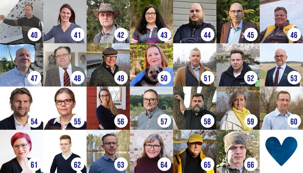 Kuvassa Kokoomuksen kuntavaalien ehdokkaat