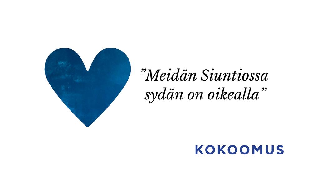 Kuvassa on sininen sydän ja Kokoomuksen vaaliohjelman lause Siuntioon sovitettuna.
