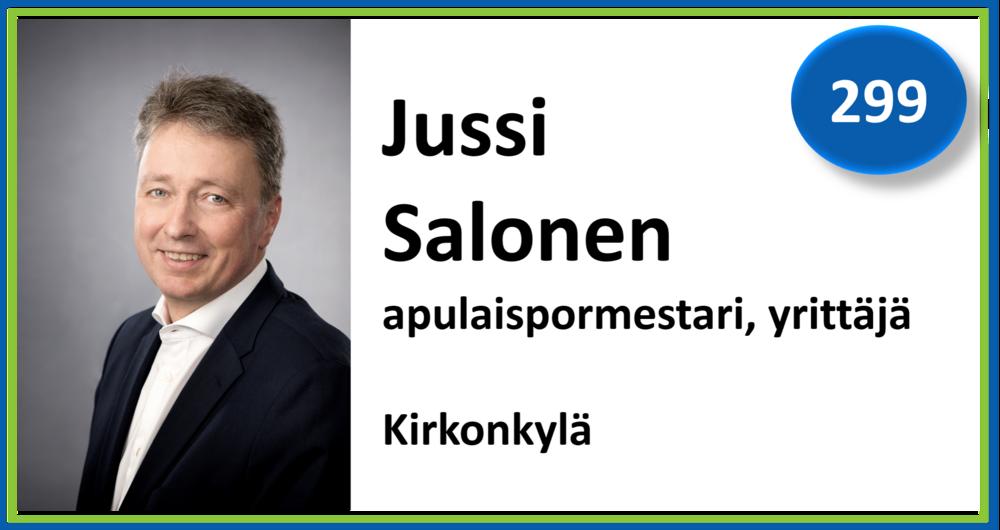 299, Jussi Salonen, apulaispormestari, yrittäjä, Kirkonkylä
