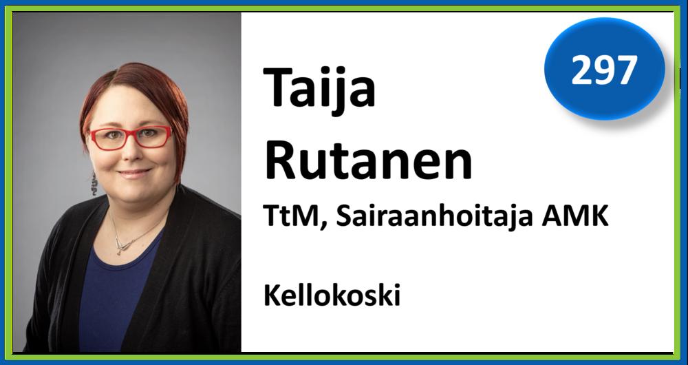 297, Tarja Rutanen, TtM, Sairaanhoitaja AMK, Kellokoski