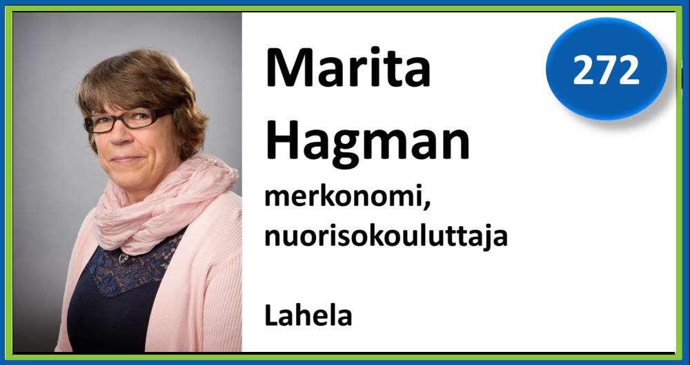 272, Marita Hagman, merkonomi, nuorisokouluttaja, Lahela