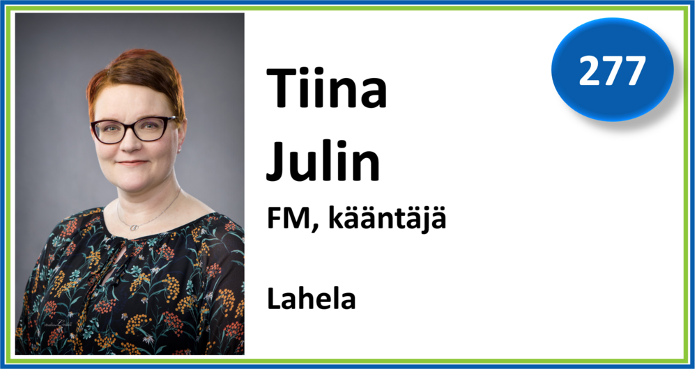 277, Tiina Julin, FM, kääntäjä, Lahela