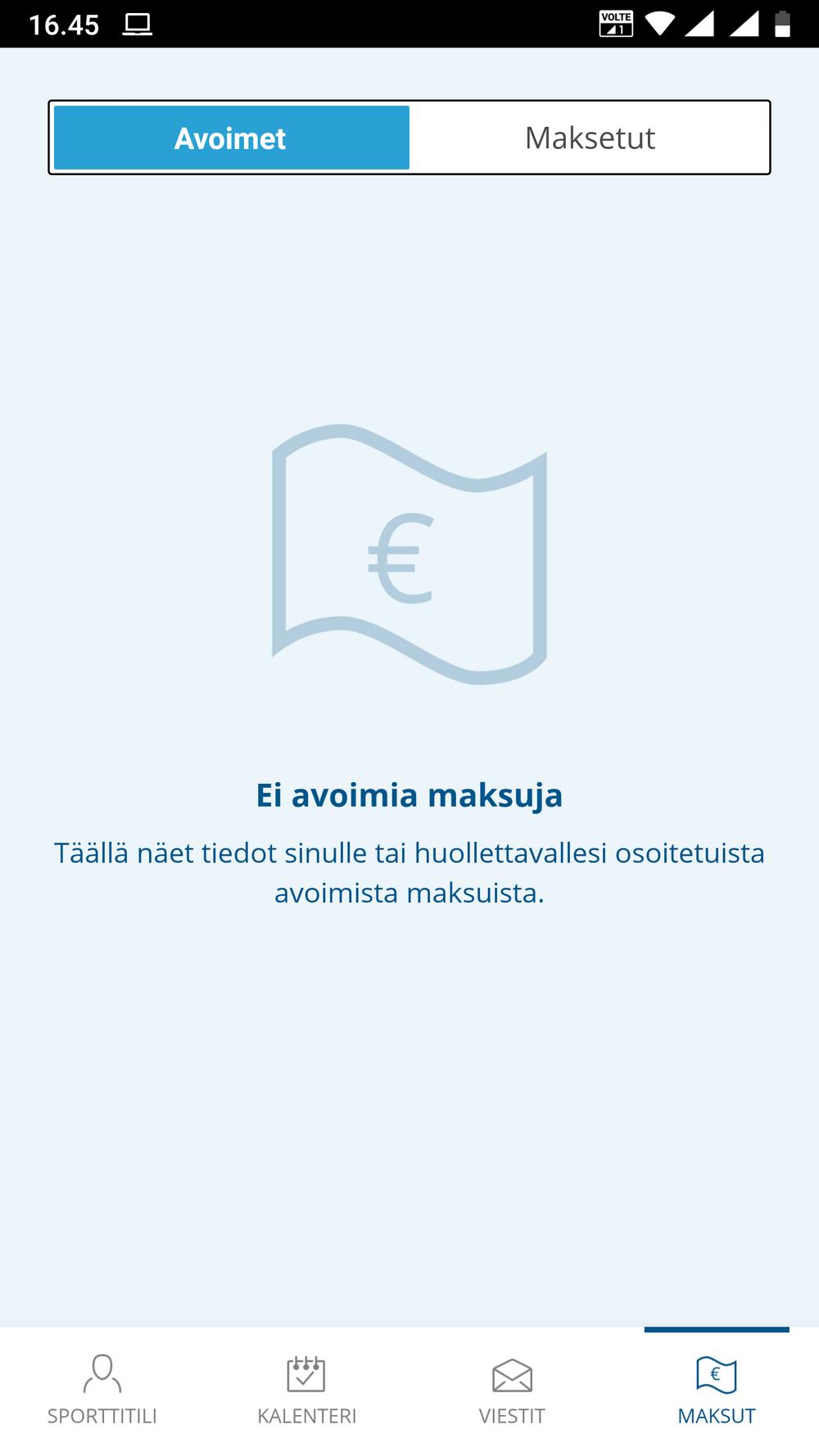 Suomisportin maksut-välilehti.