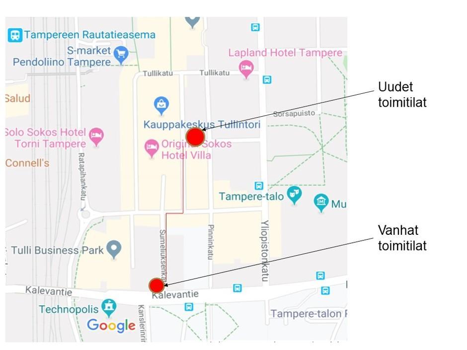 Kartta jossa näkyy uusien ja vanhojen toimitilojen sijainti.