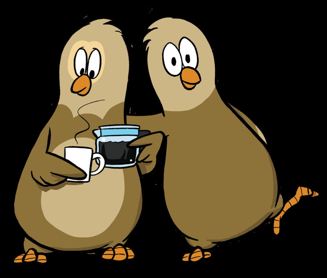 Kaksi OmaisOiva pöllöä  kahvimuki kädessä.