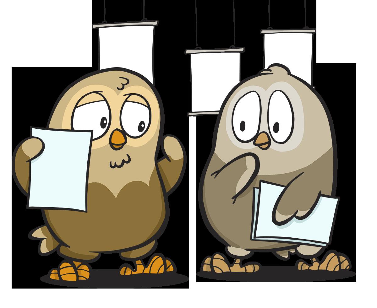 Kaksi OmaisOiva pöllöä esitteet käsissä mietteliäinä.