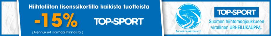 Maastohiihdon uusi pääyhteistyökumppani TOP-SPORT haluaa juhlia yhteistyötä koko hiihtokansan kanssa. TOP-SPORTEISTA ja Pohjois-Suomessa City Sporteista saa Hiihtoliiton lisenssi- ja Skipassikortilla -15% alennusta suositushinnoista.