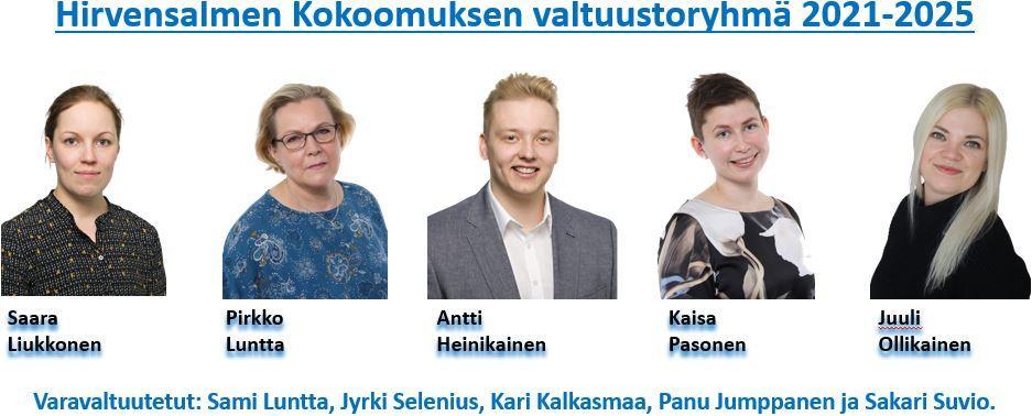 Kokoomuksen valtuustoryhmän kuva. Kuvassa vasemmalta, Saara Lukkonen, Pirkko, Luntta, Antti Heinikainen, Kaisa Pasonen ja Juuli Ollikainen.