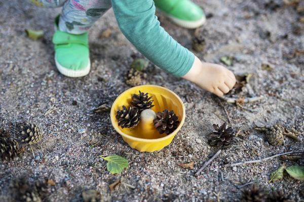 Lapsi kerää käpyjä keltaiseen hiekkakakkumuotiin.