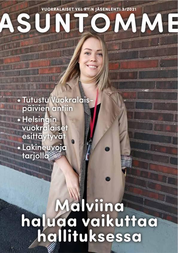 3/2021 Asuntomme-lehden kansikuva, jossa on hymyilevä nuori nainen pitkässä vaaleanruskeassa takissa ulkona.