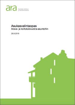 ARA Asukasvalintaohje -oppaan kansikuva,  linkki johtaa esitteeseen, avautuu uudelle välilehdelle, pdf