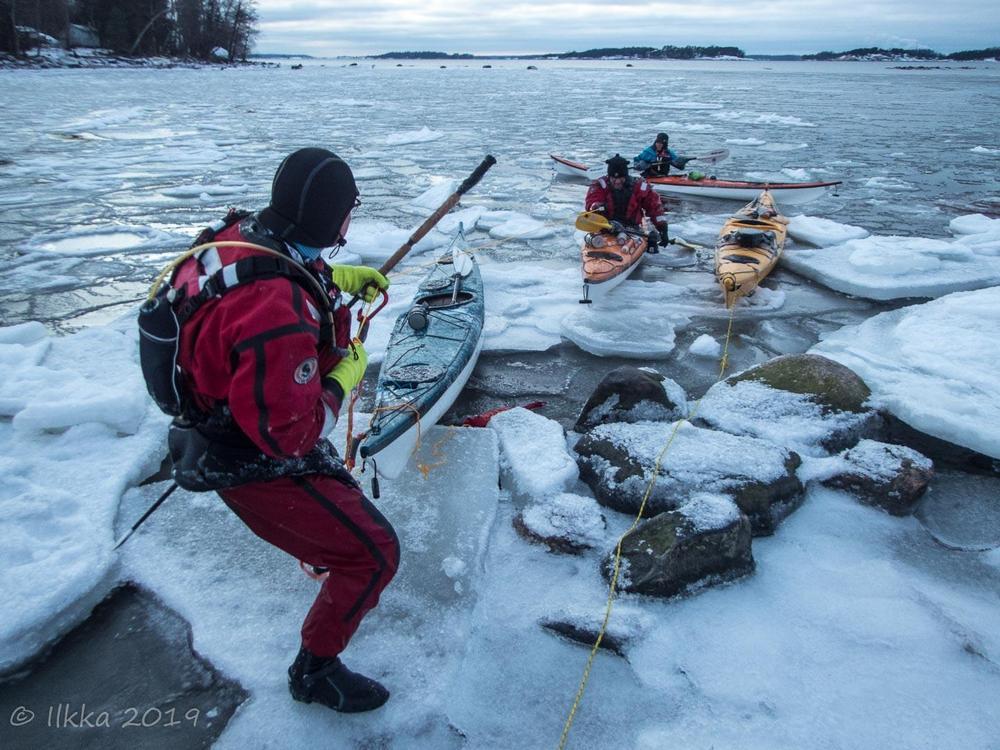 Talvimelojia jäisessä meressä. Kuva Ilkka Salmi 2019.