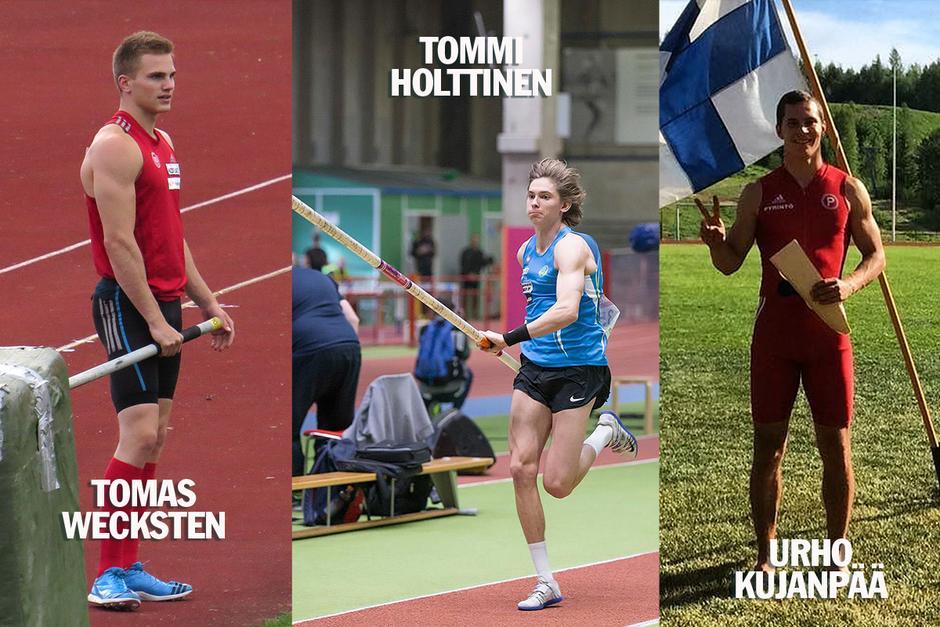 Tomas Wecksten, Tommi Holttinen ja Urho Kujapää matkalla Berliinin EM-kisoihin