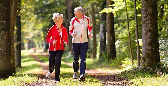 Nainen ja mies hölkkäilemässä aurinkoisessa puistossa, suurten puiden katveessa.