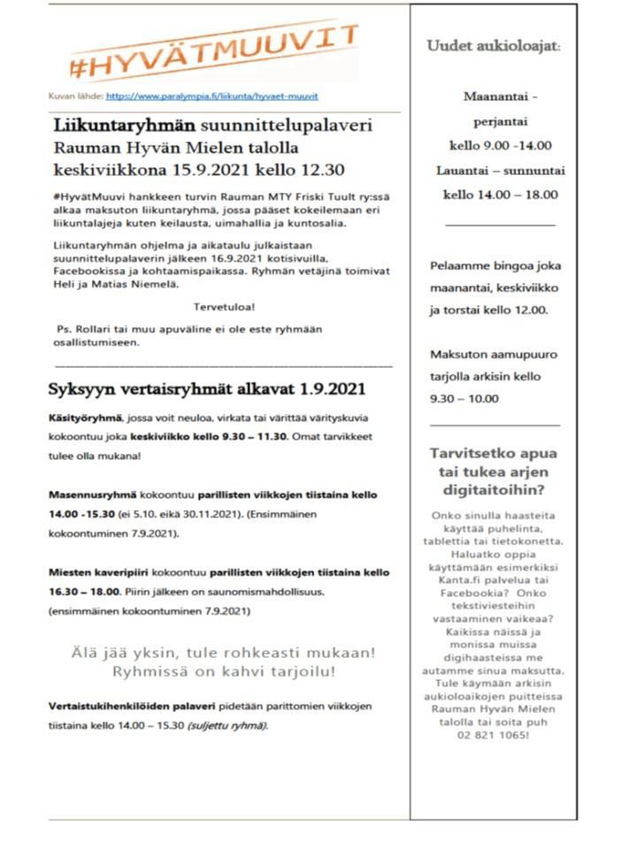 Kuva jäsenkirjeestä jonka voit lukea alla olevasta pdf tiedostosta