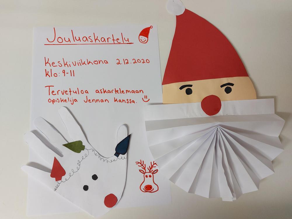 Jouluaskartelua! Keskiviikkona 2.12.2020 kello 9.00 – 11.00. Tervetuloa askartelemaan opiskelija Jennan kanssa.