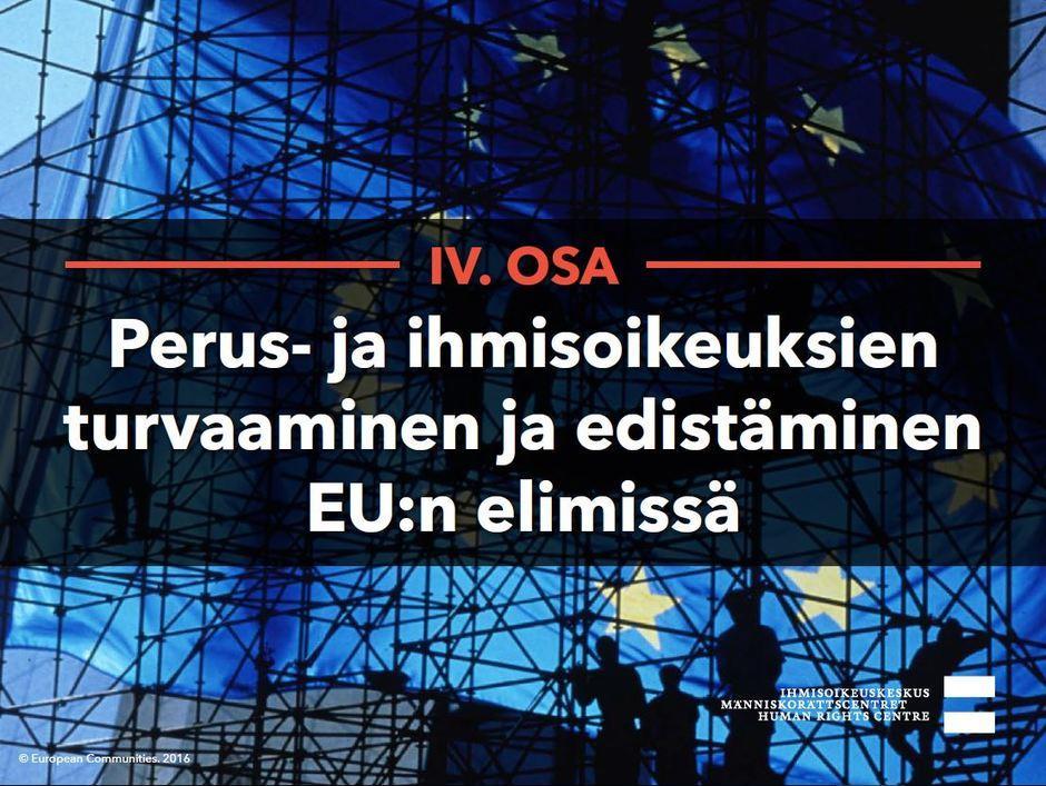 Siirry katsomaan video Perus- ja ihmisoikeuksien turvaaminen ja edistäminen EU:n elimissä.