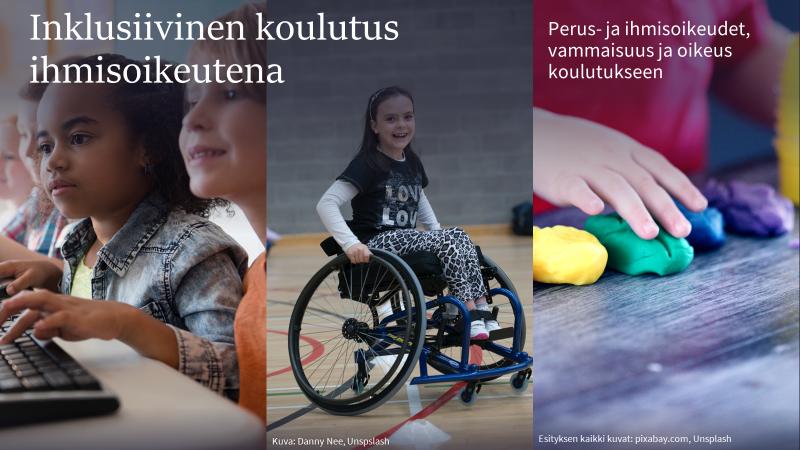 """""""Inklusiivinen koulutus ihmisoikeutena - Perus- ja ihmisoikeudet, vammaisuus ja oikeus koulutukseen"""" -koulutuskokonaisuuden kansikuva"""