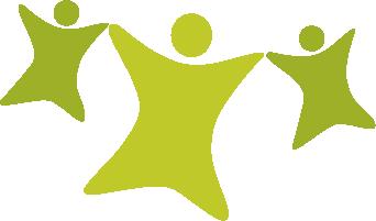 Pienperheyhdistyksen logon kolme hahmoa: aikuinen ja kaksi lasta.