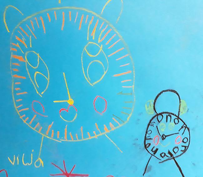 Pikkuparlamentin jäsenen tekemä piirros kelloista.