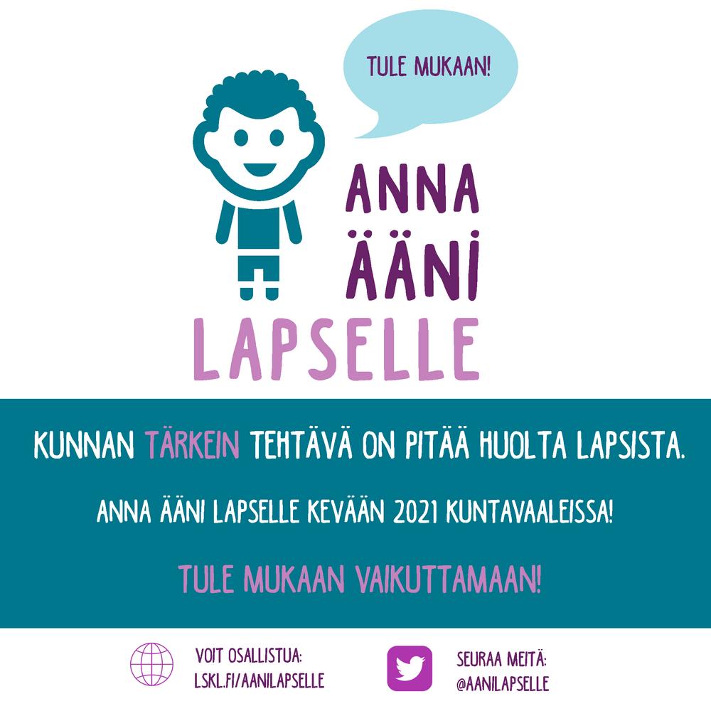 Anna ääni lapselle -kuntavaalikampanja nostaa esiin lapsen näkökulmaa ja lapsimyönteisiä kuntavaaliehdokkaita.