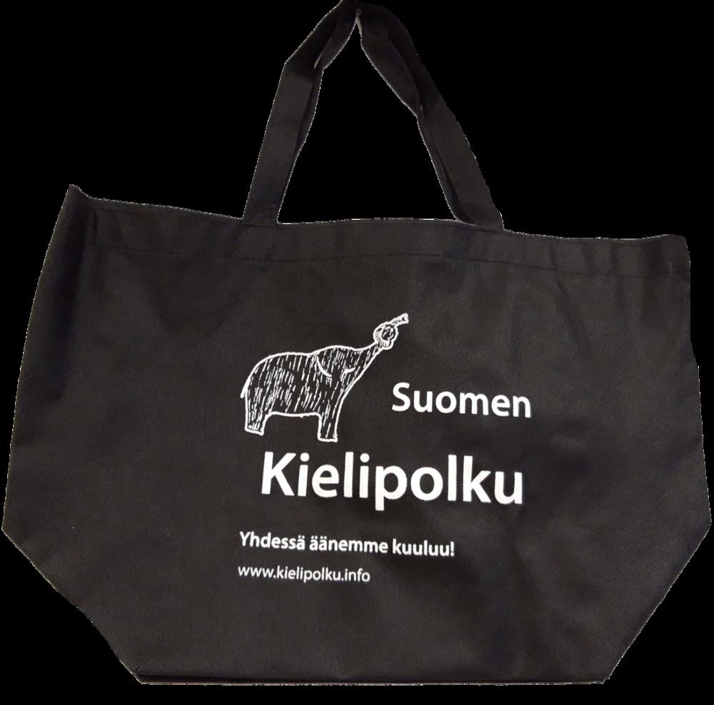 Musta kangaskassi, jossa valkoisella norsulogo ja ja Suomen Kielipolku