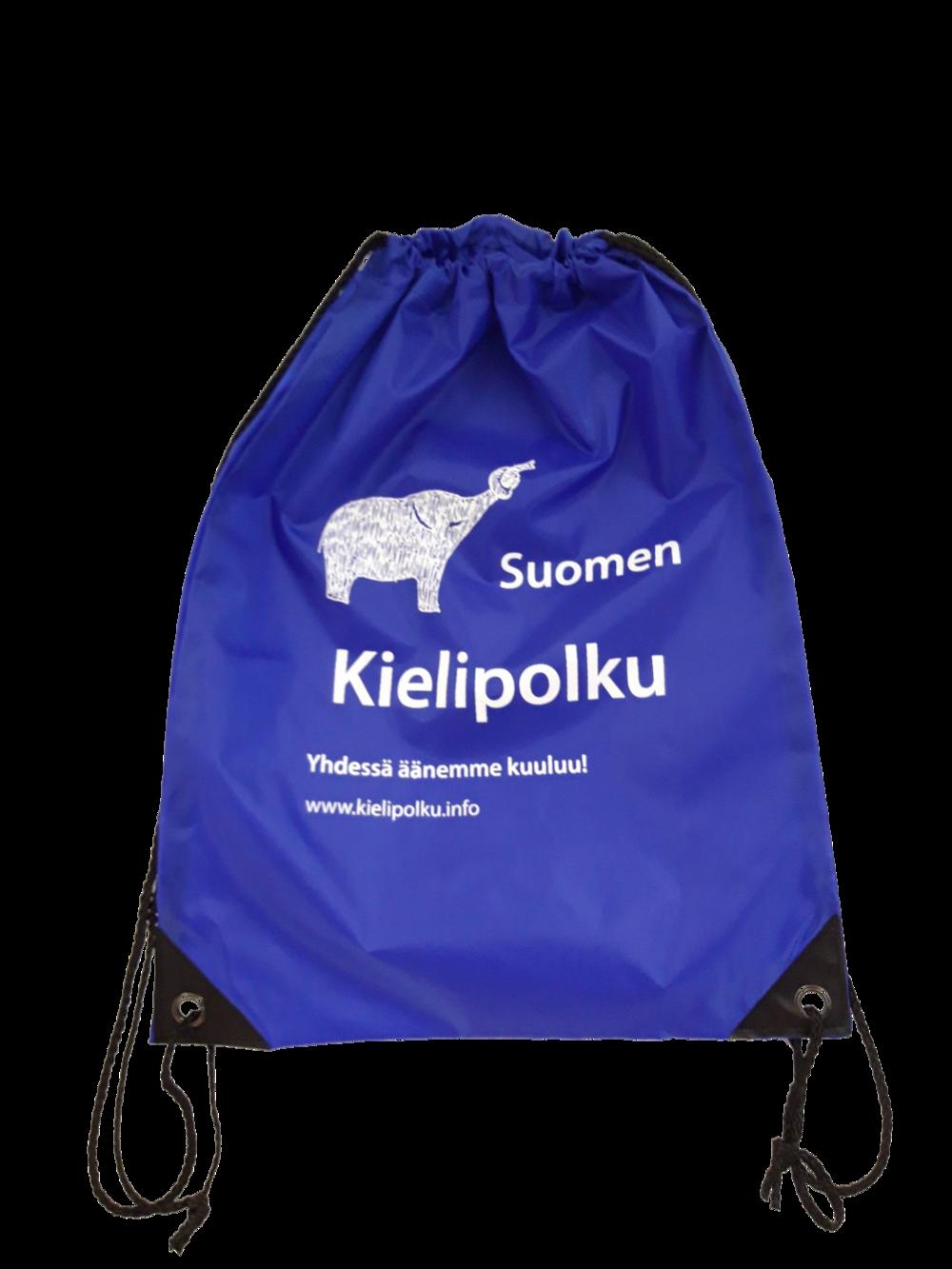 Sininen jumppapussi, jossa valkoisella norsulogo ja Suomen Kielipolku