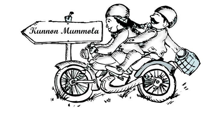 Piirroskuva pariskunnasta moottoripyörällä ajamassa.