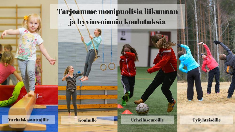 Tarjoamme monipuolisia liikunnan ja hyvinvoinnin koulutuksia: Varhaiskasvattajille, kouluille, urheiluseuroille ja työyhteisöille.
