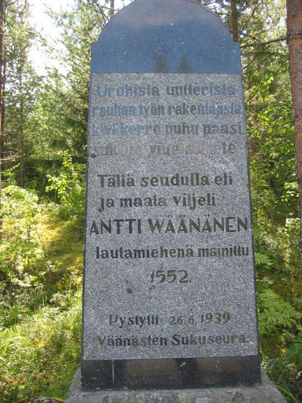 Antti Wäänäsen muistokivi.