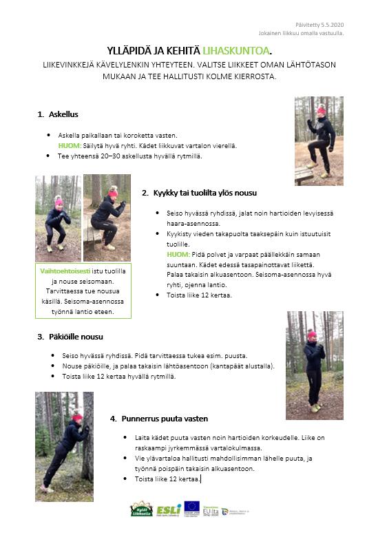 Lihaskuntoharjoitteet kävelylenkille