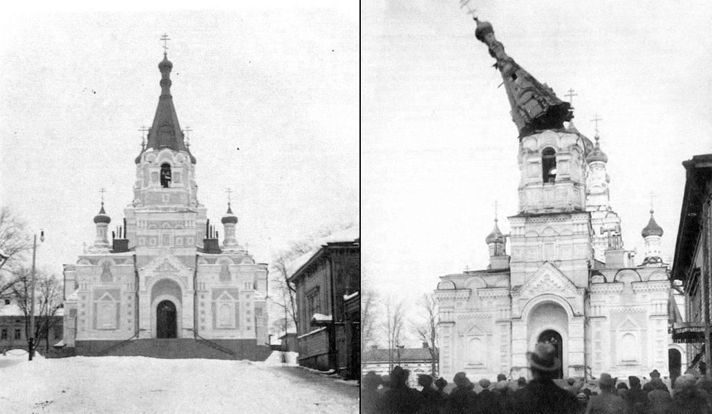 Ryssänkirkon tornit puretaan 2.5.1923. Suuri joukko kokoontui seuraamaan purkutöitä.