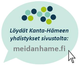 Puhekupla: löydät Kanta-Hämeen järjestöt meidanhame.fi-sivustolta.