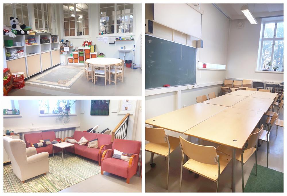 Lasten nurkkaus, sohva- ja pöytäryhmä luokassa 109 esiteltynä kuvakollaasissa.