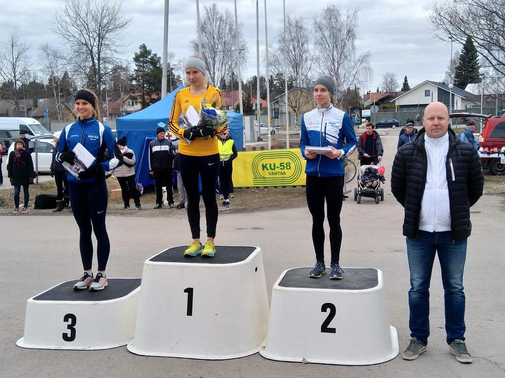 N19 10 kilometrin mitalistit sekä kulta- ja pronssimitalistin valmentaja Markku Rimpiläinen.